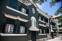 Old colonial Portuguese styled building on Macau's waterfront.