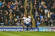 Wycombe Wanderers Players Celebrate  after Wycombe Wanderers Midfielder, Bryn Morris (17) scores a goal to make 0-1 during the EFL Sky Bet League 1 match between Portsmouth and Wycombe Wanderers at Fratton Park, Portsmouth, England on 22 September 2018.