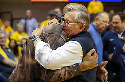 Dec 8, 2018; Morgantown, WV, USA; Pittsburgh Steelers linebacker Ryan Shazier talks with West Virginia University President Gordon Gee during halftime at WVU Coliseum. Mandatory Credit: Ben Queen-USA TODAY Sports