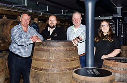 Co-founder David Robertson (left) with distillery manager Jack Mayo, co-founder Rob Carpenter and distiller Elizabeth Machin at Holyrood Distillery, Edinbrugh, as it prepared to welcome visitors. pic copyright Terry Murden @edinburghelitemedia
