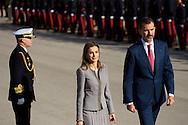 King Felipe VI of Spain and Queen Letizia of Spain received Michelle Bachelet Chilean President at Palacio de El Pardo on October 29, 2014 in Madrid
