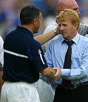 Photo Aidan Ellis.<br />Leicester City v Southampton (FA Barclaycard Premiership) 16/08/2003.<br />Gordon Strachan and Micky Adams at the end of the game.