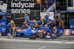 August 19, 2018 - Long Pond, Pennsylvania, United Stated - SCOTT DIXON (9) of New Zealand battles for position during the ABC Supply 500 at Pocono Raceway in Long Pond, Pennsylvania. (Credit Image: © Justin R. Noe Asp Inc/ASP via ZUMA Wire)