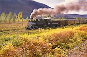 Durango & Silverton Narrow Gauge Railroad leaves Durango, Colorado.