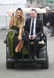 Model Vogue Williams arrives for day three of the Punchestown Festival at Punchestown Racecourse, County Kildare, Ireland.