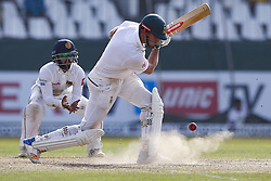 July 22, 2018 - Colombo, Sri Lanka - South African cricketer ..Theunis de Bruyn plays a shot as puff of dust comes out from the pitch during the 3rd day's play in the 2nd test cricket match between Sri Lanka and South Africa at SSC International Cricket ground, Colombo, Sri Lanka on Sunday  22 July 2018  (Credit Image: © Tharaka Basnayaka/NurPhoto via ZUMA Press)