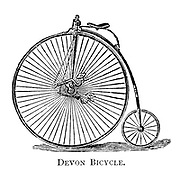 Devon high wheel Bicycle From Wheels and Wheeling; An indispensable handbook for cyclists, with over two hundred illustrations by Porter, Luther Henry. Published in Boston in 1892
