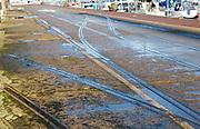 Old rail track lines on quayside Ipswich Wet Dock waterside redevelopment, Ipswich, Suffolk, England, Uk