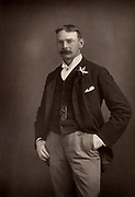 Jerome K(lapka) Jerome (1859-1927) English novelist, playwright and writer.  Author of 'Three Men in a Boat' (1889).  From 'The Cabinet Portrait Gallery' (London, 1890-1894).  Woodburytype after photograph by W & D Downey.