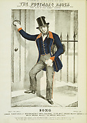 The Postman's Knock. Postman in General Post Office knocking on a front door. From a cover of a song dedicated to Sir Rowland Hill who introduced te Penny Post. Published c1870.
