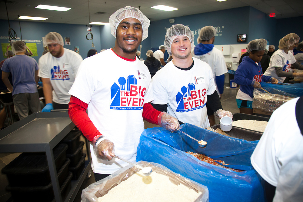 JC Rispress (left) and Brice Madison at Feed My Starving Children