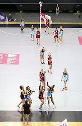 A general view of action between Strathclyde Sirens' and Surrey Storm during the Vitality Netball Superleague Super Ten match held at Arena Birmingham.