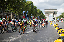 Riejanne Markus (NED) of Liv-Plantur Cycling Team tackles the descent part of the loop during the La Course, a 89 km road race in Paris on July 24, 2016 in France.