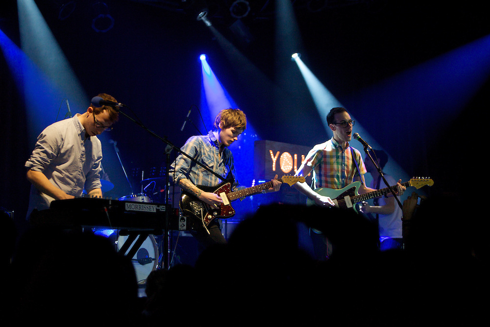Hellogoodbye members Andrew Richards, center, Joseph Marro, left, and Forrest Kline perform at the Highline Ballroom in Manhattan, Wednesday, February 9, 2011. Marro has played in several New Jersey bands, including Early November. (Photo/Claudio Papapietro)