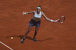 May 6, 2019 - Madrid, Spain - Petra Kvitova of The Czech returns the ball in her match against  Kristina Mladenovic of France during day three of the Mutua Madrid Open at La Caja Magica on May 06, 2019 in Madrid, Spain. (Credit Image: © Oscar Gonzalez/NurPhoto via ZUMA Press)