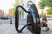 Flat Iron public art sculpture on the corner of Wall Street and Battery Park in Asheville, North Carolina.