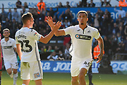 Goal - Courtney Baker-Richardson (46) of Swansea City celebrates scoring a goal to give a 1-0 lead to the home team with Connor Roberts (23) of Swansea City during the EFL Sky Bet Championship match between Swansea City and Queens Park Rangers at the Liberty Stadium, Swansea, Wales on 29 September 2018.