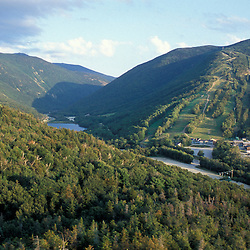 Franconia Notch State Park.  View from Bald Mountain of Cannon Mounain Ski Area, Echo Lake, and I-93 through the notch. Franconia Ridge. Franconia, NH