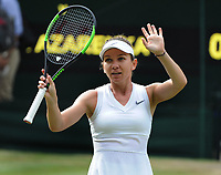 Tennis - 2019 Wimbledon Championships - Week One, Friday (Day five)<br /> <br /> Womens singles, 3th Round Simone Halep (ROU) v Victoria Azarenka (BLR)<br /> <br /> Simone Halep celebrates her victory on Centre Court <br /> <br /> COLORSPORT/ANDREW COWIE