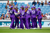 Cricket - 2021 Season - The Hundred: Women - Northern Superchargers vs Manchester Originals - Emerald Headingley, Leeds - Thursday 12th August 2021<br /> <br /> Northern Superchargers celebrate the fall of Lizelle Lee's wicket<br /> <br /> COLORSPORT/ALAN MARTIN