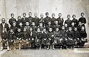 boys only school class group portrait with teacher early 1900s France