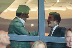 September 18, 2019, Paris, Ile de France, France: Tamis ben Hamad Al Thani (PSG) and David Beckham (Credit Image: © Panoramic via ZUMA Press)