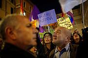 Un momento della protesta delle associazioni Lgbt davanti al Senato, contro le modifiche del ddl Cirinnà, Roma 24 febbraio 2016. Christian Mantuano / OneShot<br /> <br /> A moment of the protest of the LGBT associations front of the Senate, against the changes of the Cirinnà draft law, Rome February 24, 2016. Christian Mantuano / OneShot
