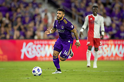 August 4, 2018 - Orlando, FL, U.S. - ORLANDO, FL - AUGUST 04: Orlando City forward Dom Dwyer (14) during the soccer match between the Orlando City Lions and the New England Revolution on August 4, 2018 at Orlando City Stadium in Orlando FL. (Photo by Joe Petro/Icon Sportswire) (Credit Image: © Joe Petro/Icon SMI via ZUMA Press)