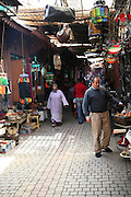 Inside the narrow alleyways of the medina, Marrakech, Morocco, north Africa