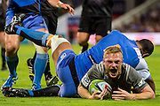 Johnny McNicholl of the BNZ Crusaders dives for a try during the Canterbury Crusaders v the Western Force Super Rugby Match. Nib Stadium, Perth, Western Australia, 8th April 2016. Copyright Image: Daniel Carson / www.photosport.nz