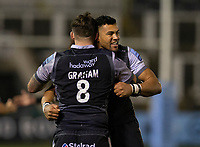 Rugby Union - 2020 / 2021 Gallagher Premiership - Newcastle Falcons vs Sale - Kingston Park<br /> <br /> Luther Burrell of Newcastle Falcons and Gary Graham of Newcastle Falcons celebrate at full time<br /> <br /> COLORSPORT/BRUCE WHITE