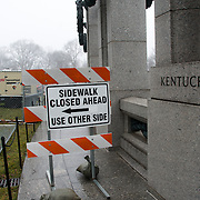 A sign indicates an area at the National World War II Memorial that is sealed off for renovations.