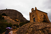 Ermita de Sant Joan, Montserrat, Catalonia, built in the 19th Century next the Ermita de Sant Onofre, which is built into the cliff above in the Tebes area, near the Sant Joan funicular.