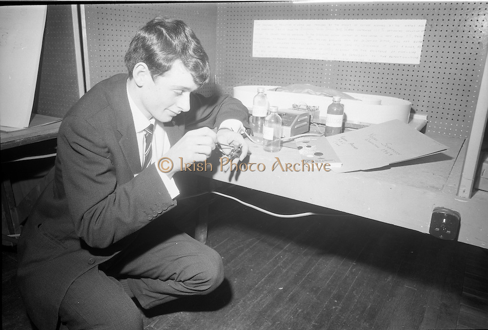 Young Scientists Exhibition.1969..01/01/1969.1st January 1969..The Aer Lingus Young Scientist Exhibition 1969 at the RDS..Picture shows Kieran Archer, a pupil at Presentation Brothers College Cork finishing his exhibit showing oxidation ditches. .
