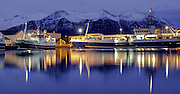Hofn fishing port by night, Iceland