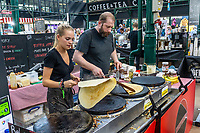 Crepe, creperie, stall, St George's Market, Belfast, N Ireland, UK, August, 2019, 201908241291<br />