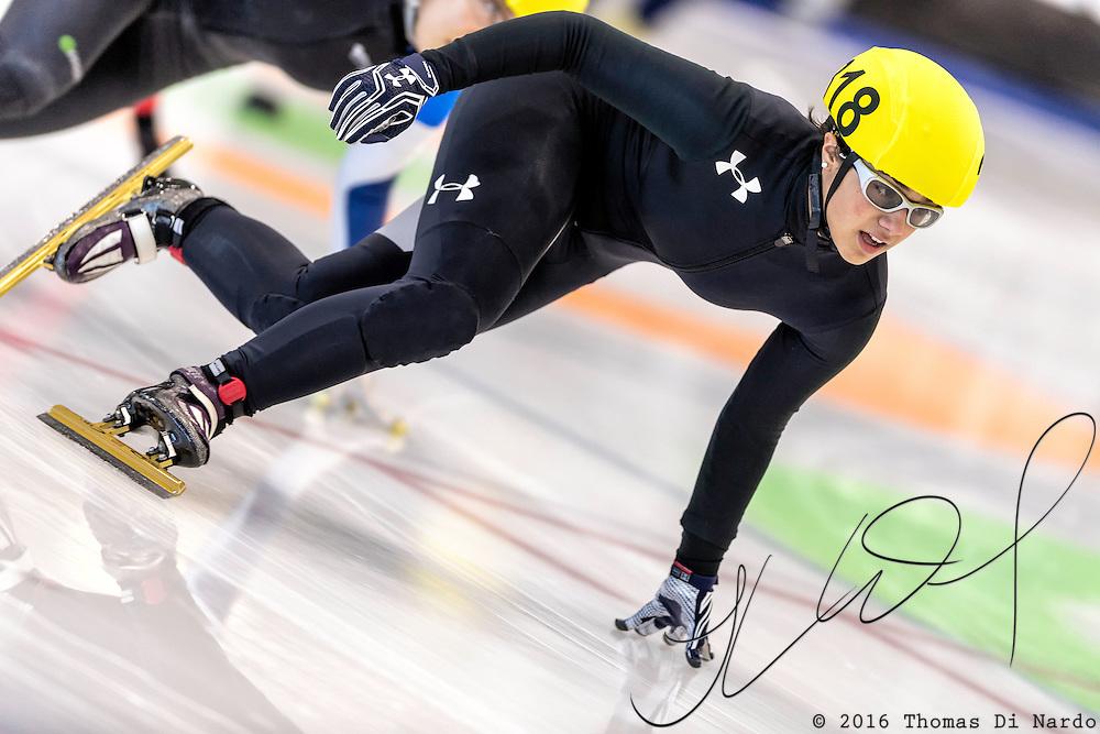 December 17, 2016 - Kearns, UT - Stephanie Velez skates during US Speedskating Short Track Junior Nationals and Winter Challenge Short Track Speed Skating competition at the Utah Olympic Oval.