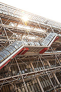 Exterior of the Pompidou Centre, a public library and modern art gallery in the centre of Paris, France