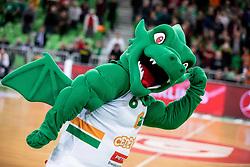 Mascot of Cedevita Olimpija during basketball match between teams KK Cedevita Olimpija and Germani Brescia in Round #7 of EuroCup 2019/20, on November 19, 2019, in Arena Stozice, Ljubljana, Slovenia. Photo by Vid Ponikvar / Sportida