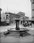 0805-A01A.  Skidmore Fountain. Looking north and west. 1910s. SW First St. & Ankeny. 1912, Portland, Oregon