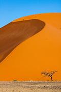 "Person climbing ""Big Daddy"" sand dune, Sossusvlei desert, Namib-Naukluft National Park, Namibia."