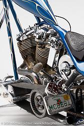 Billy Lane's Blue, a 1972 Harley-Davidson Shovelhead, built in 2000. Photographed by Michael Lichter in Sturgis, SD. August 4, 2020. ©2020 Michael Lichter