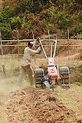 Mar. 12, 2009 -- BAN THO THAN, LAOS:  A man tills the soil of his bean field in Ban Tho Than, Laos, near Vang Vieng. Photo by Jack Kurtz