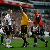 Photo: Steve Bond.<br />Derby County v Bolton Wanderers. The FA Barclays Premiership. 29/09/2007. Rob styles (C) books Jay McEveley. Stephen Bywater (R) remonstrates