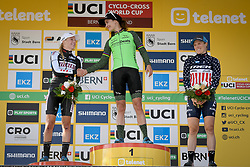 October 21, 2018 - Bern, SWITZERLAND - Dutch Annemarie Worst, Dutch Marianne Vos and US Katie Compton pictured on the podium after the women's elite race at the UCI Cyclocross World Cup cyclocross event in Bern, Swiss Confederation, Sunday 21 October 2018, the third of nine stages in the World Cup trophy in the 2018-2019 season. BELGA PHOTO DAVID STOCKMAN (Credit Image: © David Stockman/Belga via ZUMA Press)