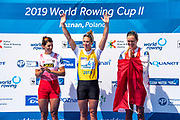 Poznan, POLAND, Sunday, 23/06/2019, Finish of the Women's Single Sculls Final, World Rowing Cup II, Malta Lake Course, © Peter SPURRIER/Intersport Images, <br /> Centre, Gold Medalist, NZL W1X, Emma TWIGG, left, Silver Medalist,  AUT W1X Magdalena LOBNIG, right, Bronze Medalist CAN W1X, Carling ZEEMAN,   FISA World Rowing Cup II, Malta Lake Course, © Peter SPURRIER/Intersport Images,<br /> <br /> 14:42:37