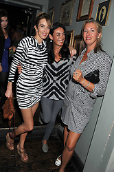 Left to right, SARAH WOODHEAD, TRACY LOWE and TIGGY KENNEDY at 'Summer Goes By FAST,' a party celebrating London-based Canadian knitwear designer Mark Fast, held at Paradise, 19 Kilburn Lane, Kensal Green, London on 28th July 2011.
