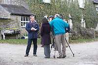 barn in Cumbria tv crew interviewing National Park representative