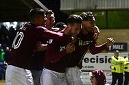 Matt Crooks of Northampton Town ® celebrates with teammates after he scores his teams 2nd goal to put his side 2-0 up.EFL Skybet Football League one match, Northampton Town v Portsmouth at the Sixfields Stadium in Northampton on Tuesday 12th September 2017. <br /> pic by Bradley Collyer, Andrew Orchard sports photography.