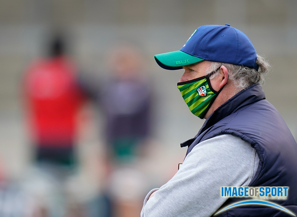 London Irish Director of Rugby Declan Kidney and Head Coach Les Kiss with the players warm up before the game during a Gallagher Premiership Round 14 Rugby Union match, Sunday, Mar 21, 2021, in Eccles, United Kingdom. (Steve Flynn/Image of Sport)